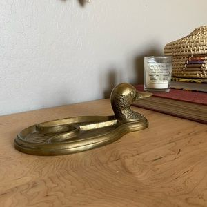 Vintage Brass mallard duck Jewellery dish